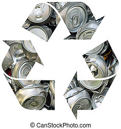 Recycle symbol with cans - Recycle symbol with crashed cans...
