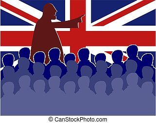 uk meeting - Crowd of silhouette people in a UK board...