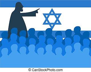 israel meeting - Crowd of silhouette people in an Israeli...