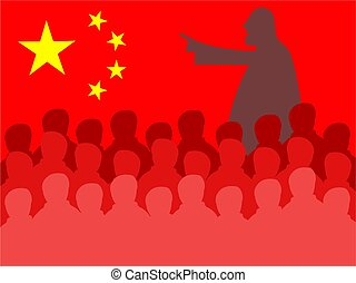 china meeting - Crowd of silhouette people in a Chinese...