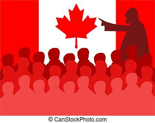 canada meeting - Crowd of silhouette people in a Canadian...