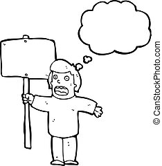 cartoon political protester with sign