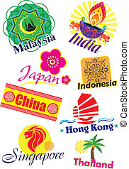 Asia country travel icon set - Different asia country travel...