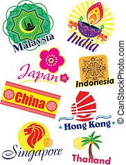 Asia country travel icon set