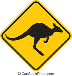 Kangaroo warning sign Yellow sign
