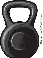 black kettlebell (black iron kettlebell for weight training,...