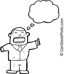 cartoon boss with idea