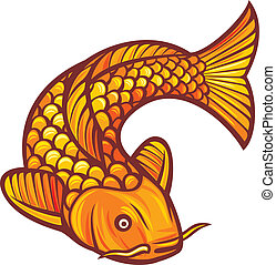 koi fish (vector illustration of a japanese or chinese...