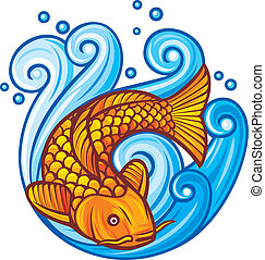 koi fish koi fish in the sea waves, vector illustration of a...