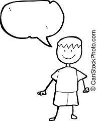 childs drawing of a boy with speech bubble