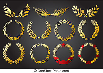 Wreath set wreath collection, laurel wreath, oak wreath,...