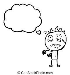 zombie, cartone animato, uomo