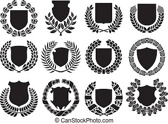 medieval shields and laurel wreath collection shields with...