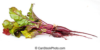 Beet with tops - Ripe beet with tops on a white background