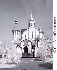Temple Reutov Infrared photo - Church of the Kazan Icon of...
