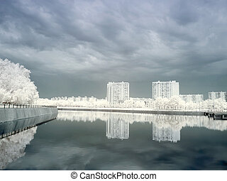 Pond in Moscow Infrared photo - City landscape Pond in a...