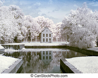 Farmstead Kuskovo Infrared photo - An ancient princely...