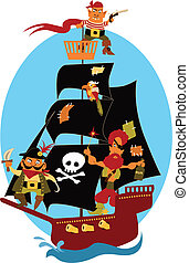 Pirate ship - Cartoon pirate ship with cute pirates and a...
