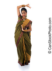 indian female dance in white background