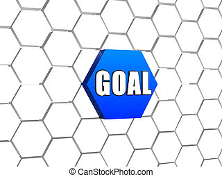 goal on blue hexagon