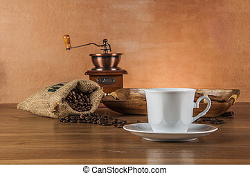 Italian coffee on wooden table - Coffee concept