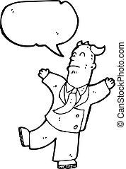 cartoon old businessman having heart attack