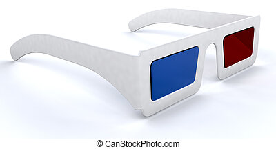 3d movie glasses - 3d render of a pair of 3d movie cinema...