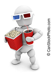 Movie Man - 3D render of someone with pocorn and soda