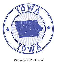 Iowa stamp - Grunge rubber stamp with the name and map of...