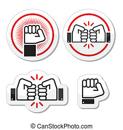 Fist, fist bump vector icons set - Power, revolution,...
