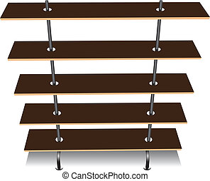 Wooden bookcase with five shelves. Vector illustration.