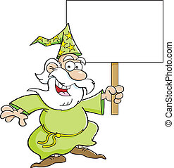 Cartoon Wizard with a Sign