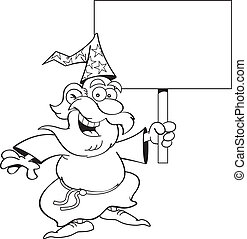 Cartoon Wizard with a Sign (Black &