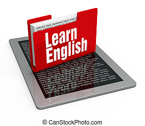 Learn english - English lesson on computer tablet