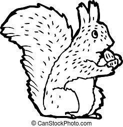 cartoon squirrel nibbling nut