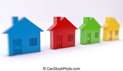 Colorful houses on white background close up