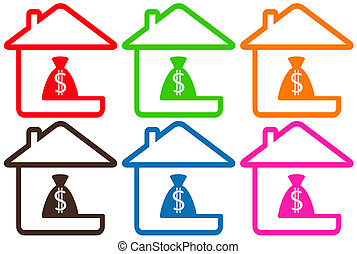 set houses with money bag - set colorful houses with money...
