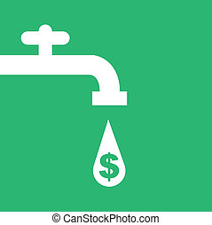 Water Faucet Money - Money faucet silhouette with dollar...