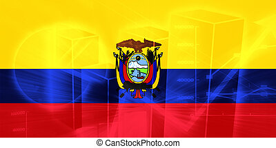 Flag of Ecuador, national country symbol illustration