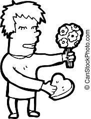 cartoon man on first date