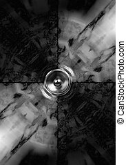 Mono audio speaker background - Black and white audio...