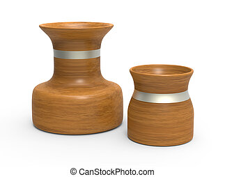 Two vases of wood on white background