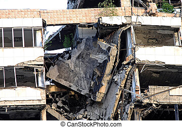 Collapsed building - Collapsed big building after strong...
