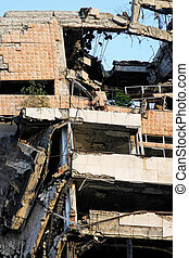 Earthquake blast - Ruined big building after strong...