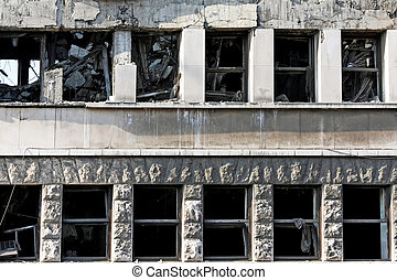 Earthquake - Ruined big building after strong earthquake...