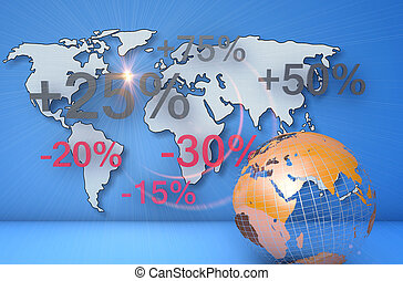 Global business - World map and numeric data