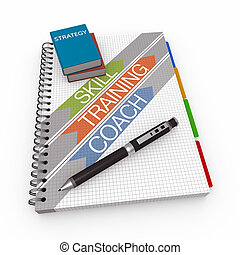 Notebook strategy concept - Realistic spiral notebook and...