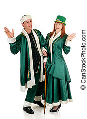St Patrick holiday couple - Young couple in traditional St...