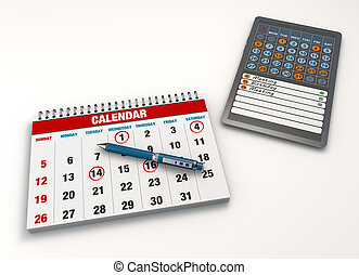 Calendar events - Calendar with pen and tablet computer
