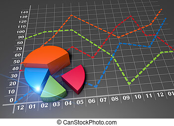 Business graph growth - Financial pie chart and linear graph